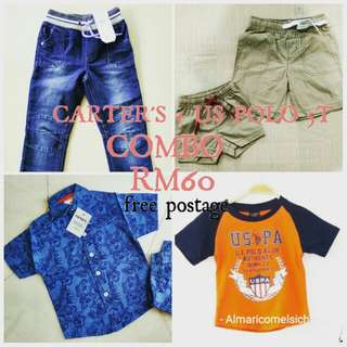 COMBO US POLO ASSN+ CARTERS KIDS JEANS SHIRT TSHIRT SHORTS