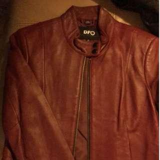 棗紅色皮褸八成新 Burgundy Leather Jacket