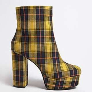 💎💛F21 Yellow Plaid Platform Boots💛💎