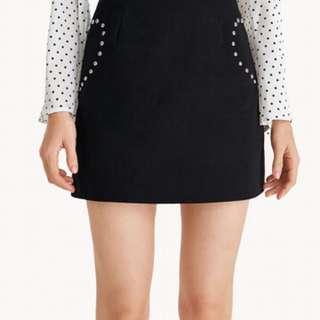 Mini Heart Studded A-Line Skirt - Black