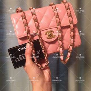 (SOLD)Chanel 粉紅色荔枝皮 Mini Flap 17cm
