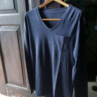 Plain Navy Blue Long sleeve shirt