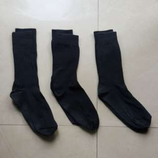 3 Pairs plain Long black socks