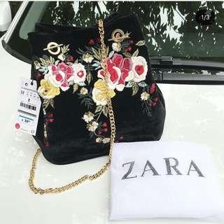 Tas Zara Bordir Bucket Original