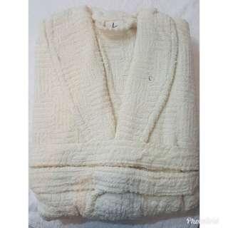 Cream 100 % Cotton Terry Mens Ladies Dressing Gown Towelling Robe Bath Bathrobe