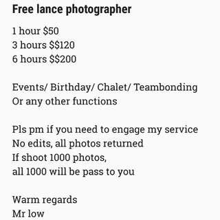 Free lance photographer