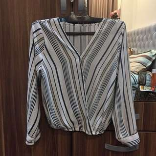 zara inspired wrap blouse stripe kemeja