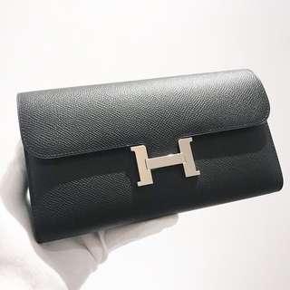 Hermes Constance Wallet 89黑色Epsom皮銀釦A刻