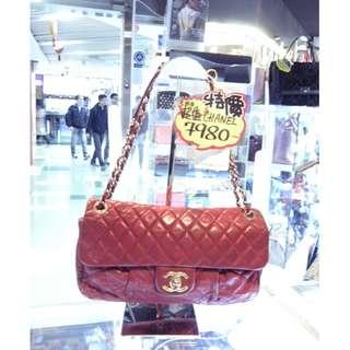 Chanel CC Logo Red Leather Chain Shoulder Hand Bag GHW 香奈兒 紅色 真皮 皮革 金扣 金鍊 鍊袋 肩袋 手挽袋 手袋 袋