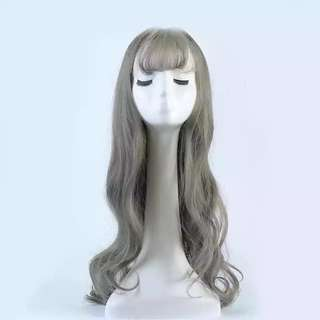 Long wig grey green colour
