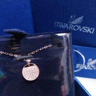 正品全新SWAROVSKI玫瑰金色水晶頸鏈