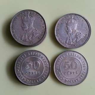 1916-1935 5/10/20/50 Cents Straits Settlements Coins KGV