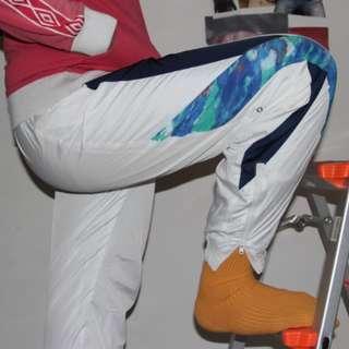 [UNISEX] Parachute White-Aquatic Pattern 'Goldwin' Track Pants