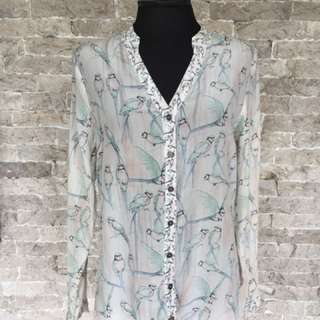 Warehouse Silk Blouse with Parrot print