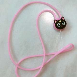 Sailor moon black cat luna pink handphone strap