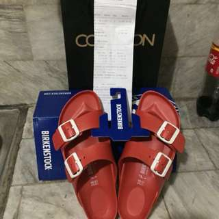 Birkenstock Arizona Essentials Eva Flat Slippers (Red)    RFS: hindi kasya saken. I am Size 6 only. willing to swap if may mag offer ng birkenstock (aunthentic din) na size 6-7. Thanks