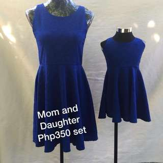 Mom and Daughter Blue Dress