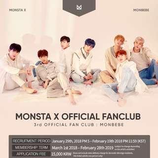 MONSTA X OFFICIAL FAN CLUB 'MONBEBE' 3rd GEN RECRUITMENT