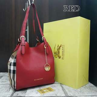 Burberry Canterbury Check Tote Bag Red Color
