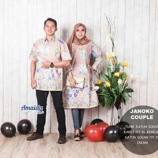 Baju batik couple Murah bahan katun sogan