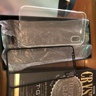 Tempered glass plus soft case iphone x remax