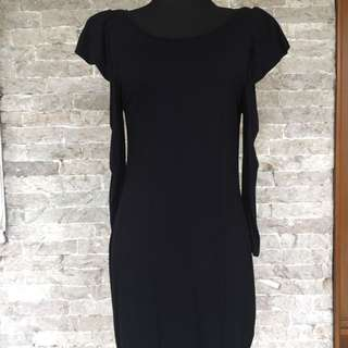 Warehouse Body Con Dress with Shoulder Pads in Black