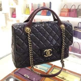 Chanel 黑金復古兩用包 油蠟皮 95新