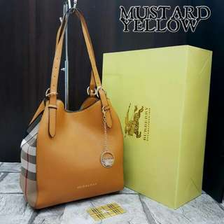Burberry Canterbury Check Tote Mustard Yellow Bag