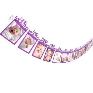 cute baby birthday 12mth photo banner 6 color