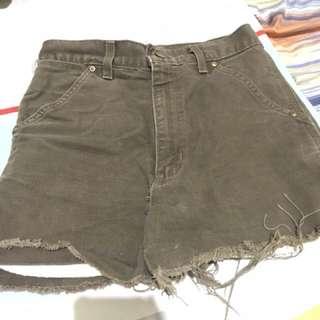 Army green high waist shorts (Denim fabric)