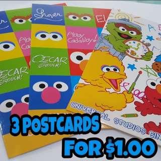 📮Free NORMAL postage   💯Brand New Universal Studio Sesame Street Assorted Postcard 3 for $1.00