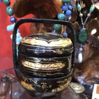 Small Chinese hand painted black lacquer and gilt Peranakan wedding basket