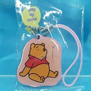 迪士尼 小熊維尼 金屬平板 吊飾 電話繩 Run'A Disney Winnie The Pooh Metal Plate Mini Honey Pots Strap D