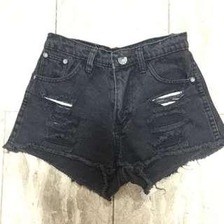 Black Punny Ripped Shorts