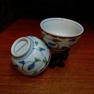 國泰航空~懷石料理 手繪日式茶杯 一對