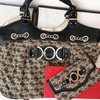 1set bag & wallet, black & gold
