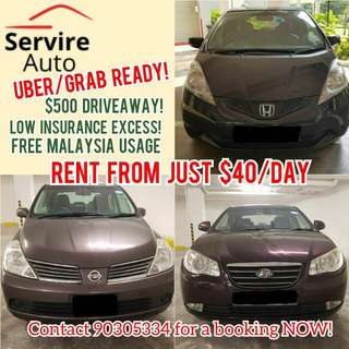 Honda Civic, Fit, Jazz, Hyundai Avante, Nissan Latio for Rent from $39. Grab/Uber Ready!