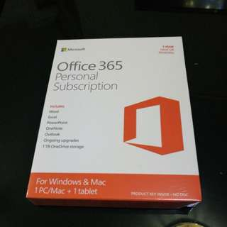 In original packaging, Microsoft office 365 Personal - 1yr subscription