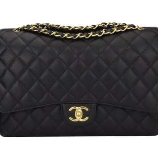 AUTHENTIC CHANEL!!! Black Caviar Maxi Double Flap with Gold Hardware