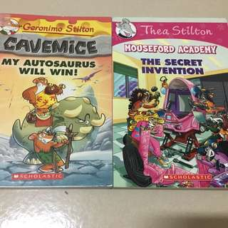 Geronimo Stilton-Cavemice My Autosaurus Will Win, Thea Stilton-Household Academy The Secret Invention (Like New)