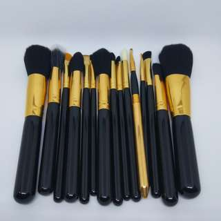 Kuas Make up Gold Black 15 pcs