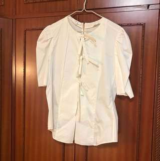White Shirt with Three Ribbons