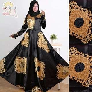 Gamis Elegancy (Black) (Gold) (Navy) Rp148.000 (maxmara silk sejenis satin klok 4 meter, busui, fit XL, LD 110cm, Pjg 142cm, karet blkg, tanpa pashmina)  Redi jkt