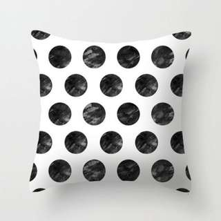 Black and White Monochrome Dotted Polka Dots Cushion Cover