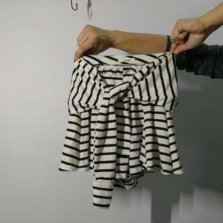 假2件棉質條紋褲裙