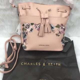 Charles & Keith Embroidered Bucket Sling Tote Bag