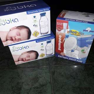 Electrical breast pump dan breastmilk glass bottle