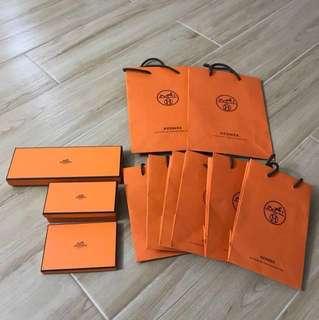 Hermes 紙袋 盒 絲帶 paper bag box ribbon
