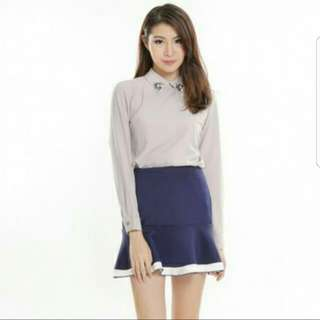 (BNWT/ BNWB) TCL Queensbury Contrast Skirt In Navy