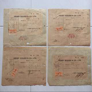Old / Vintage Invoices & Receipts - Set of 4 pieces with 2 Malaya Stamps each Dated 1947 (Each $6 , all 4 for $20)